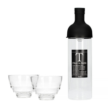 Hario Filter-In Bottle Black + Yunomi Tea Glass Set