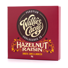 Willie's Cacao - Dark Chocolate with Hazelnuts and Raisins 50g
