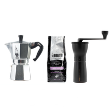 Set: Moka Pot + Hand Coffee Grinder + Coffee