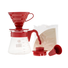 Hario V60 Pour Over Kit Red - dripper +  server  + filters (outlet)
