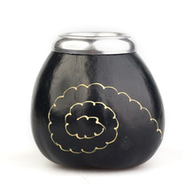 Calabaza Espiral Negra - Calabash for yerba mate - Black with pattern