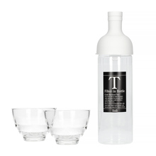 Hario Filter-In Bottle Pale Grey + Yunomi Tea Glass Set