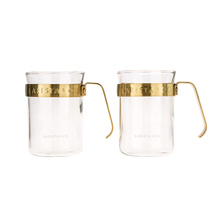 Barista & Co - Metal Framed Cups Midnight Gold - Set of 2
