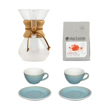 Set: Chemex 6 Cup + 2 x Loveramics Cup and Saucer + Johan & Nyström Coffee