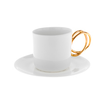 ENDE - 100ml Cup ans Saucer - Espresso Twist - White with Gold
