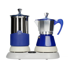 G.A.T. Gatpuccino 4tz Electric Moka Pot with a Frother - Blue