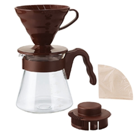 Hario V60 Brown Pour Over Kit  - dripper +  server  + filters