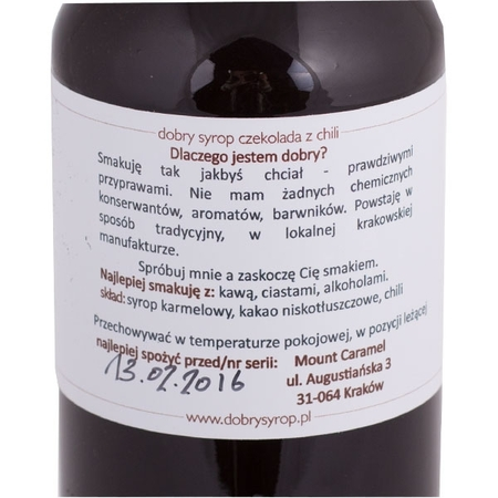 Mount Caramel Dobry Syrop / Good Syrup - Chocolate with chilli 500 ml