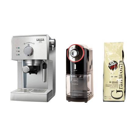 Set: Gran Gaggia Coffee Machine + Melitta Grinder + Caffe Vergnano Coffee