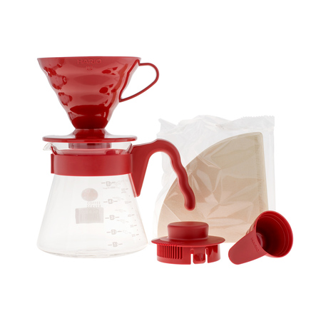 Hario V60 Pour Over Kit Red - dripper +  server  + filters