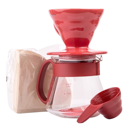 Hario V60 Dripper & Red Pot Set  - dripper + server + filters