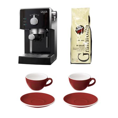 Set: Gran Gaggia Coffee Machine + 2 Loveramics Cup and Saucer sets + Caffe Vergnano Coffee